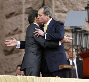 A great day for Texas! Here's Governor Rick Perry and Lt. Governor David Dewhurst sharing a hug at their third inauguration, in Jan. 2011!