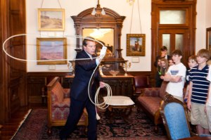 This is one of many of my favorite photos of Lt. Governor Dewhurst! Yep, he's roping in his office... just another day for him!